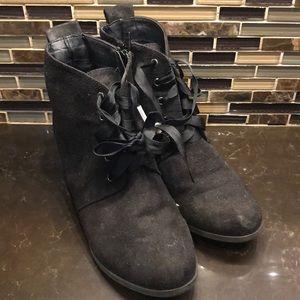 Restricted Kids black faux suede wedge booties